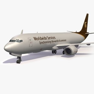 3D ups cargo aircraft airplane model