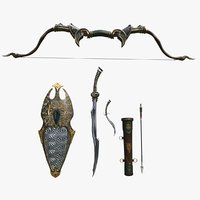 3D model fantasy weapons set bow
