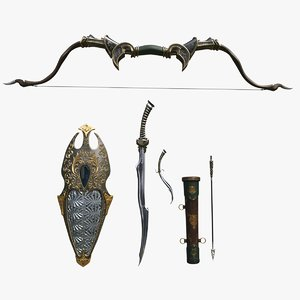 3D model fantasy weapons set bow