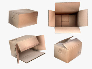 3D cardboard boxes set industrial