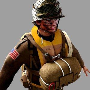 3D world war 2 paratrooper