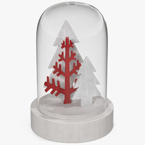 christmas snow globe trees 3D model