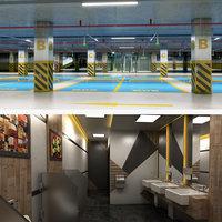 3D realistic public underground car park