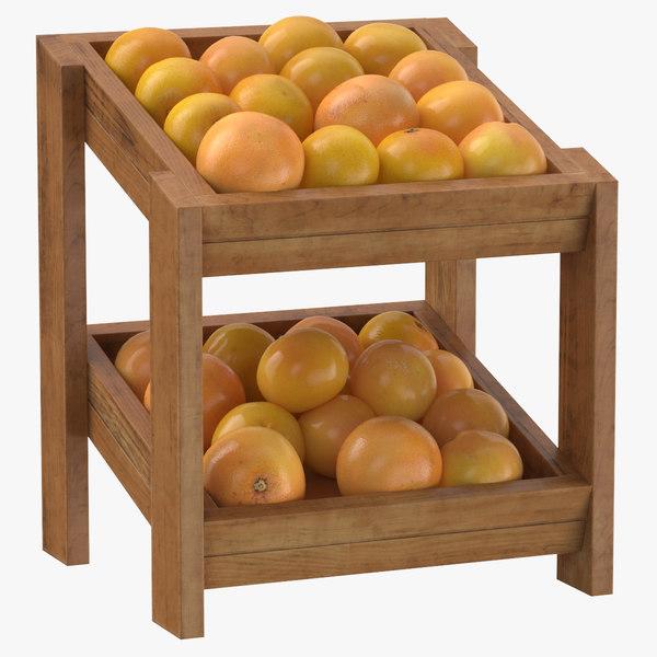 wooden merchandise shelf 02 3D