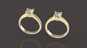 set diamond ring 3D model