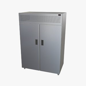 upright refrigerator double doors 3D
