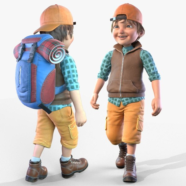 3D cartoon boy rigged animates