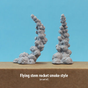 3D flying stem rocket smoke model