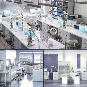3D model scientific laboratory mega set