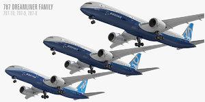 3D boeing 787 dreamliner family