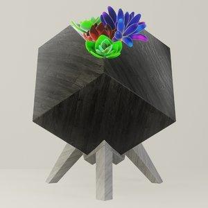 3D wooden succulent planter plants