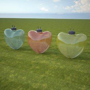 3D christmas heart belongings model