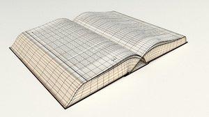 large open book 3D model