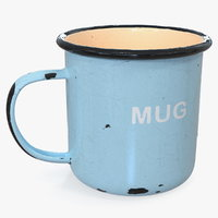enamel mug old 3D model