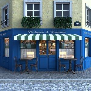 3D bakery exterior interior