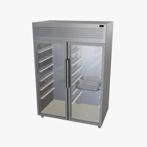 3D upright refrigerator double glass doors