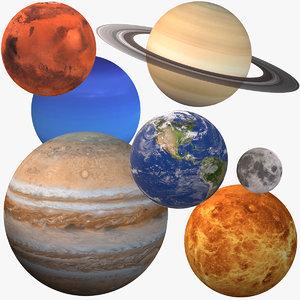 3D solar planets moon model