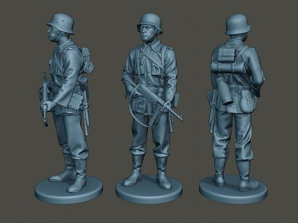 german soldier ww2 stand 3D model