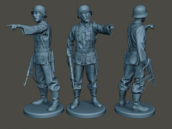 3D german soldier ww2 war