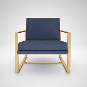 armchair golden interior furniture 3D model