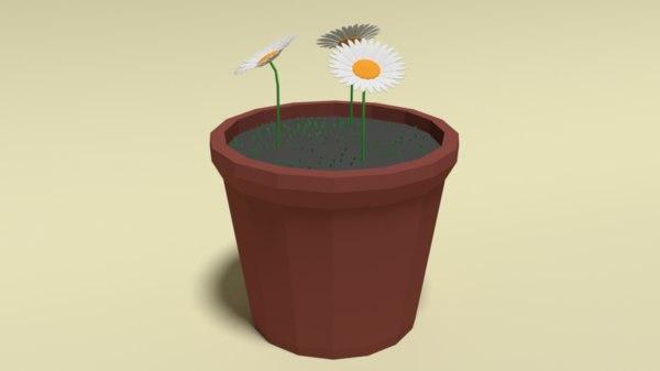 flower pot daisy 3D model
