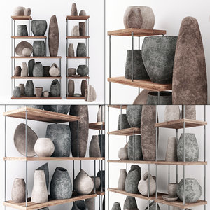 dishes stone decor 3D