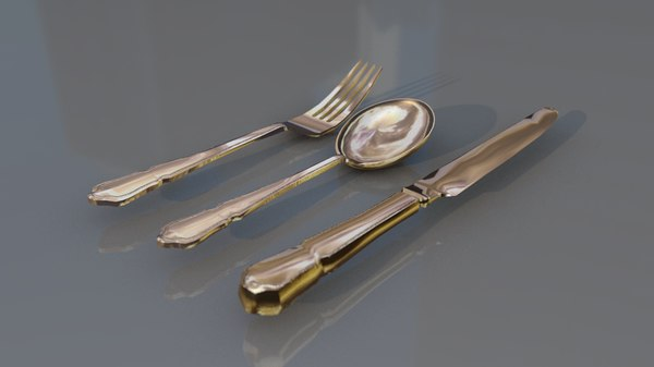 cutlery silverware tableware set 3D model