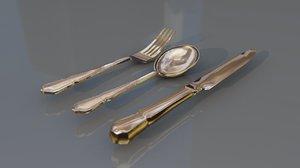 cutlery silverware tableware set 3D model