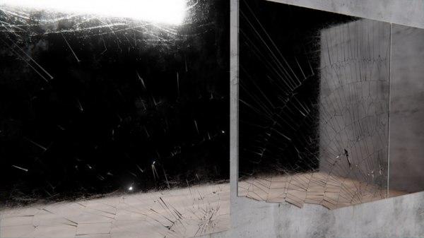 3D broken glass mirror