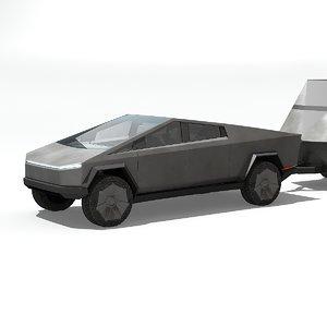 cybertruck trailer interior 3D model