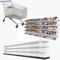 3D grocery store display stand model