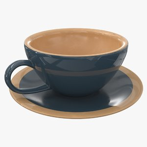 3D model coffee tea cup saucer