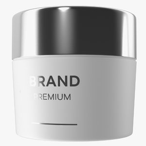 3D model white cosmetic cream jar
