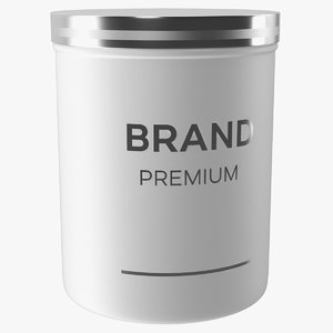 white cosmetic jar model