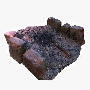 3D model extinct campfire fireplace