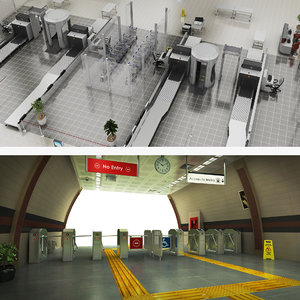 security airport metro 3D model