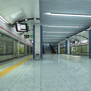 3D subway station way