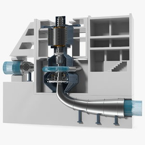 variable speed pumped storage 3D model
