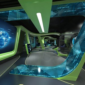 3D science fiction exhibition hall