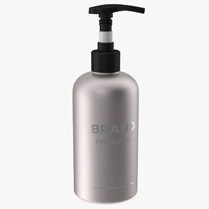 black cosmetic pump bottle 3D