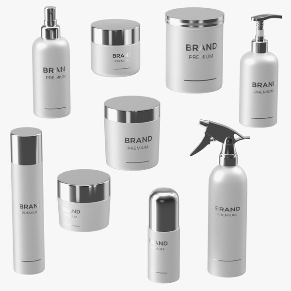 cosmetic package set white 3D