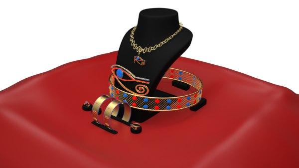 horas eye jewellery set 3D model