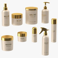 3D cosmetic package set gold