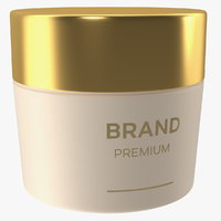 3D gold cosmetic cream jar