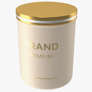 gold cosmetic jar 3D