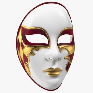 red face carnival mask 3D model