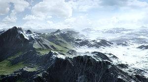 3D model mountain summer winter