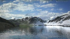 winter summer mountain lake 3D