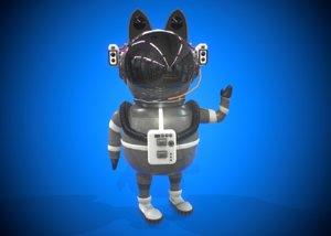 3D model astronaut cat character cartoon