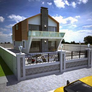 villa modeled 3D